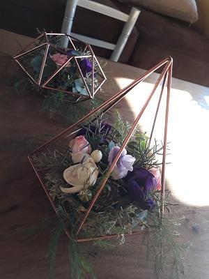 Bougeoirs metal cuivre fleuri a la location